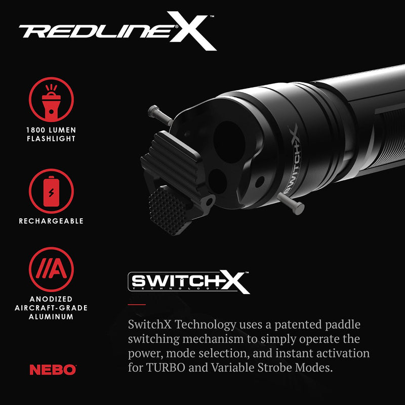 Redline X Rechargeable LED Flashlight with 1800 Lumen Turbo Mode