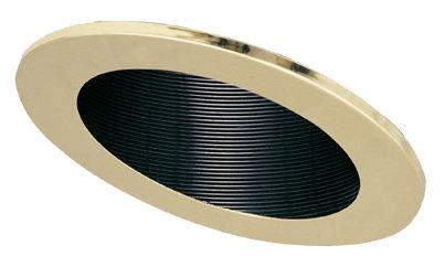 Elco EL622 6 120V and CFL Sloped Phenolic Baffle Trim  - Black Reflector, Gold Ring - Southern California Electric