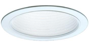 Elco ELM40W 6  Line Voltage PAR38/R40 Trim with Metal Step Baffle - White - Southern California Electric