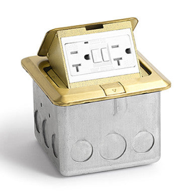 Lew Electric PUFP-SQ-BR-GFI Brass Pop-out Floor Plate Assembly with 20 AMP GFI Receptacle - Southern California Electric