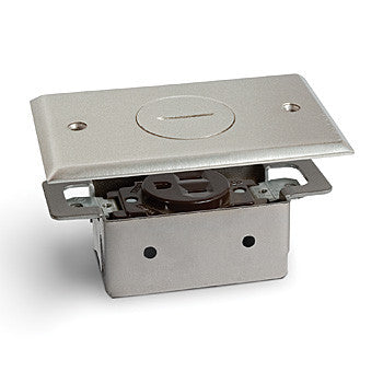 Lew Electric RRP-1-NP Nickel Plated Recessed Single Receptacle Floor Plate Assembly - Southern California Electric