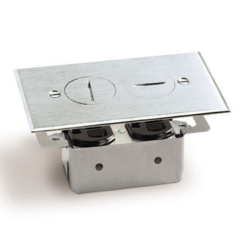 Lew Electric RRP-2-A Aluminum Recessed Duplex 15 AMP Receptacle Floor Plate Assembly