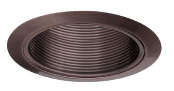 Elco ELM40BZ 6  Line Voltage PAR38/R40 Trim with Metal Step Baffle - Bronze - Southern California Electric