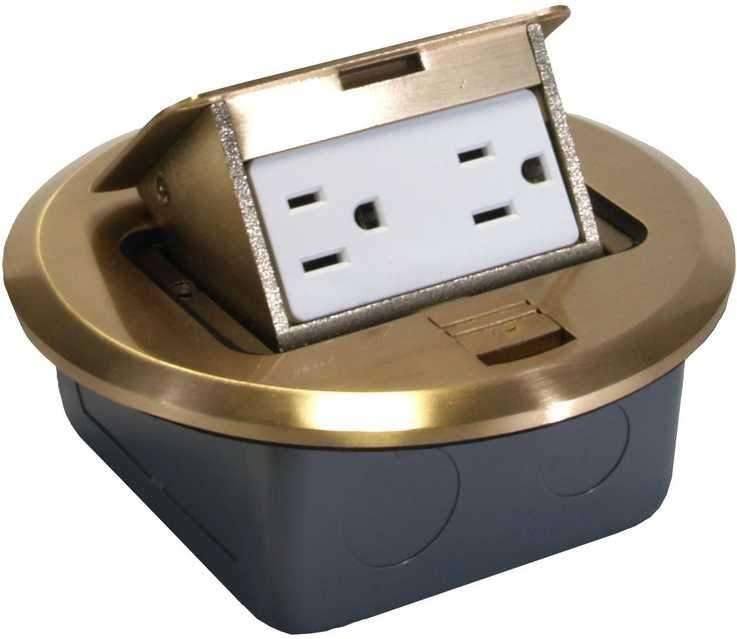 Orbit FLBPU-D-BR 6 Brass Pop-Up Floor Box with Receptacle and Junction Box - Southern California Electric