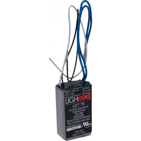 Lightech LET 75 Electronic Transformer 75 Watt 120VAC/12VAC