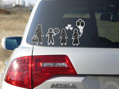 My Little Muslim Stick Figure Family Mega Pack - Car Stickers - A Little Muslim Shoppe - 1