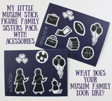 Bonus Accessories with Siblings Pack - My Little Muslim Stick Figure Family - Car Stickers - A Little Muslim Shoppe - 4