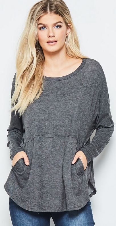 Tunic w Pockets - Charcoal