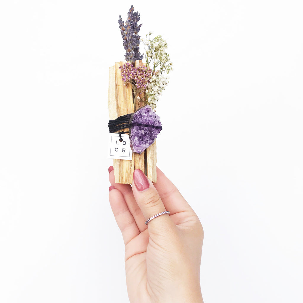 palo santo, aromatherapy, wellness product, self care routine, amethyst cluster