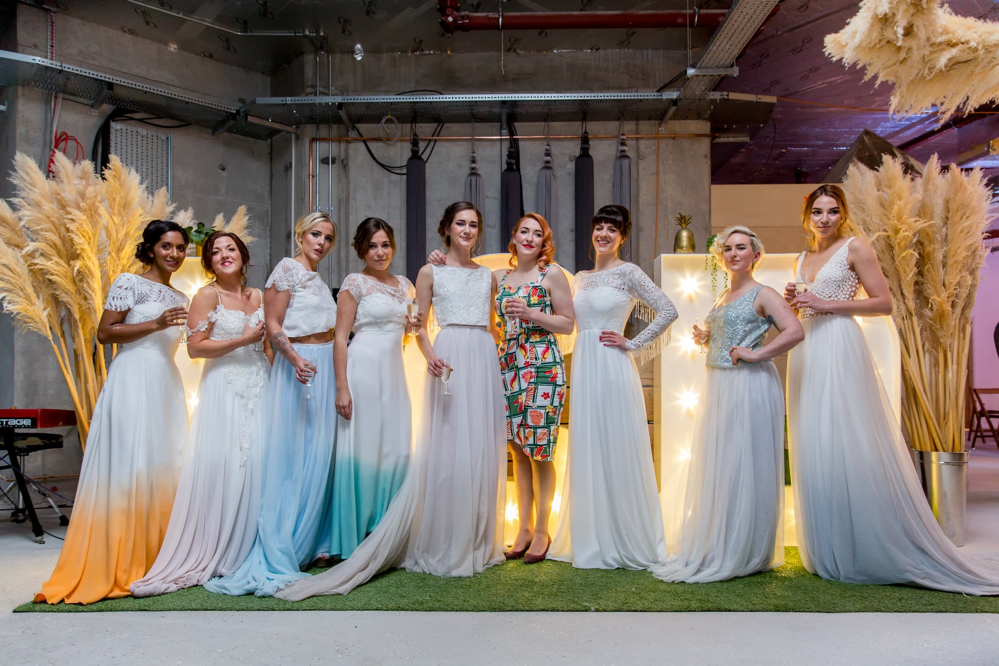 A large selection of dip dye, vintage, boho and modern style wedding dresses
