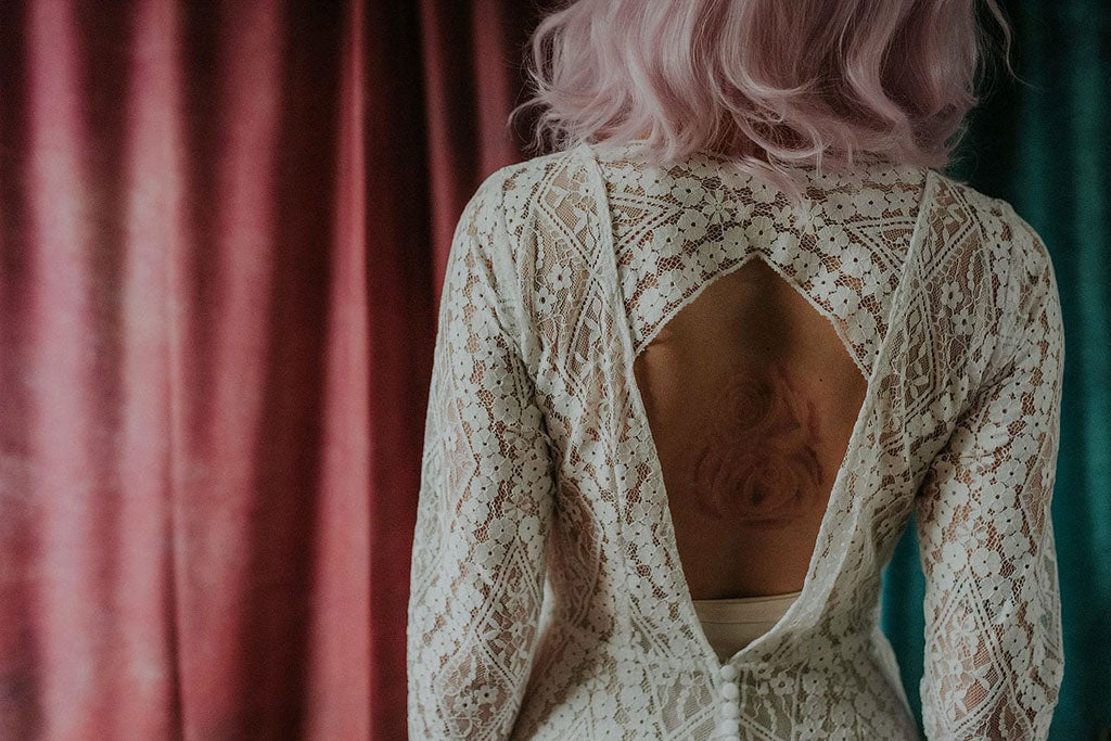 Wonderfully intricate vintage lace wedding dress close-up