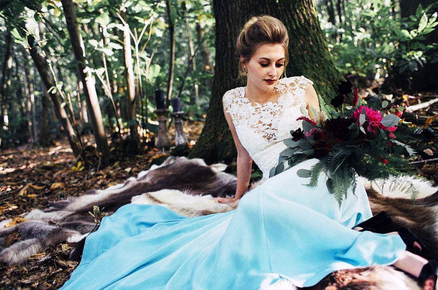 Blue dip dye wedding dress