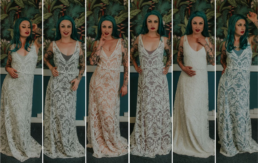 Examples of how different coloured slip dresses can change the look of your wedding dress