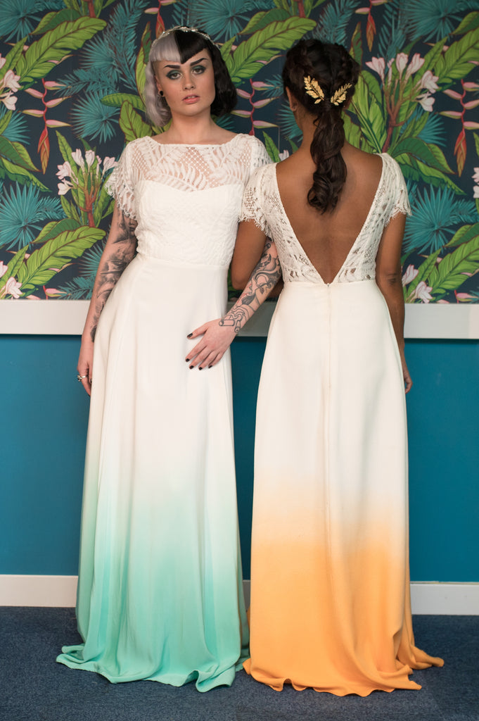 Emerald dip dye silk wedding dress - Gallery
