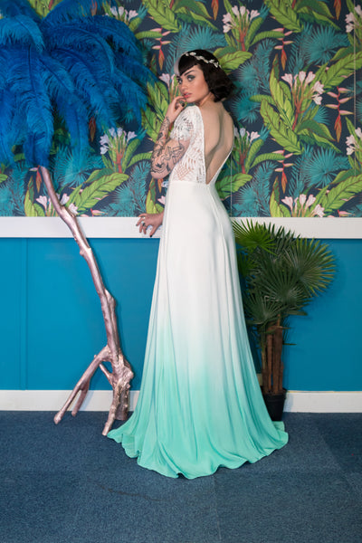 Emerald dip dye silk colourful wedding dress