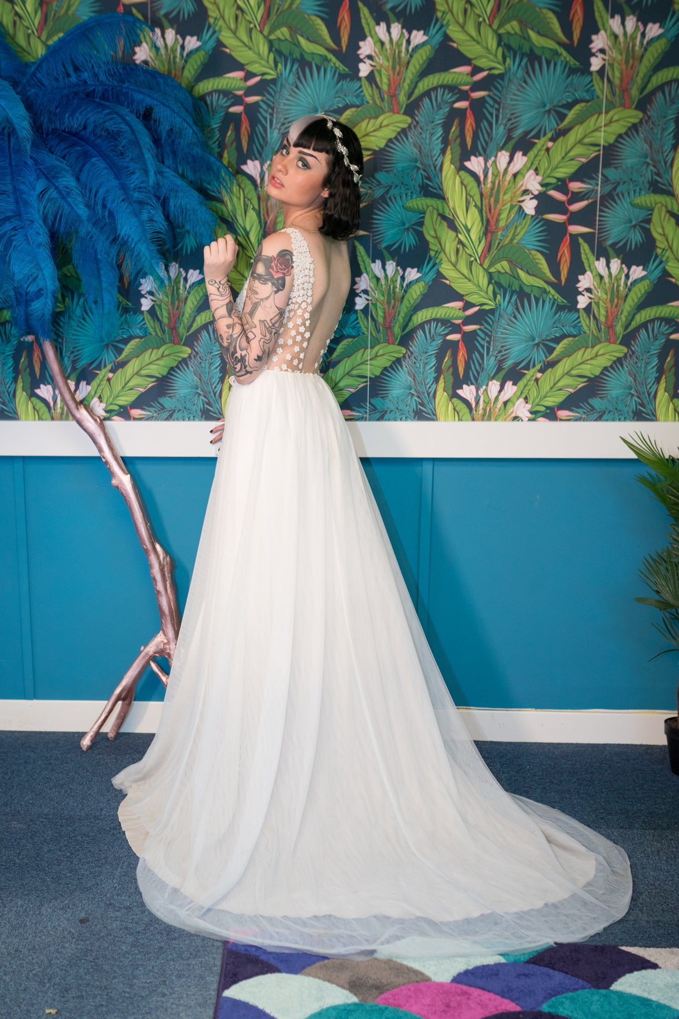 Boho ivory tulle wedding dress
