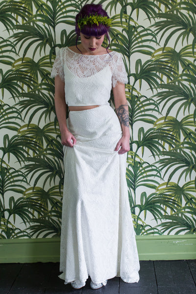 Tropical print lace wedding top & skirt