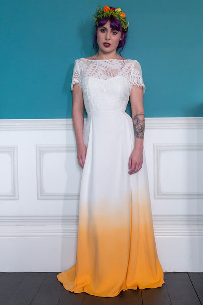 Ziggy Stardust - Orange dip dye colourful wedding dress