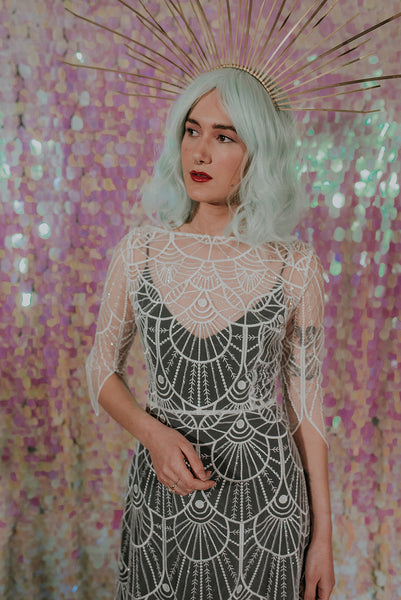 Great Gatsby inspired lace wedding dress with a black slip dress - Gallery