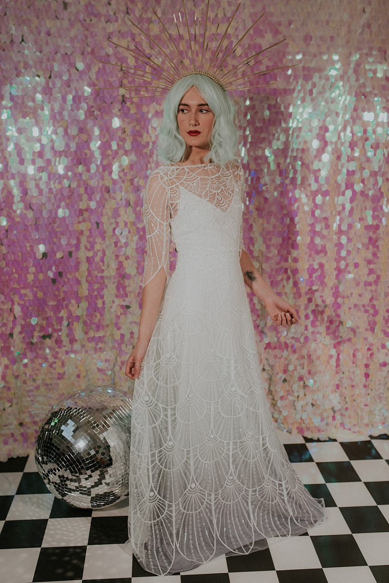 Wonderfully detailed sequined wedding dress - Lookbook