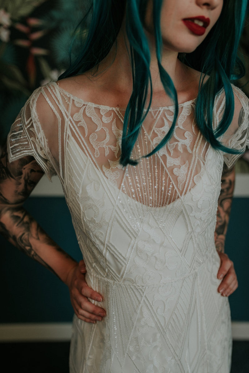 Beautiful front close-up of our Labyrinth wedding dress - Lookbook