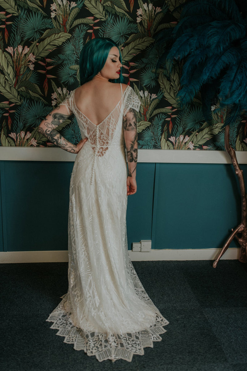 White slip dress with a Great Gatsby inspired vintage lace wedding dress - Lookbook