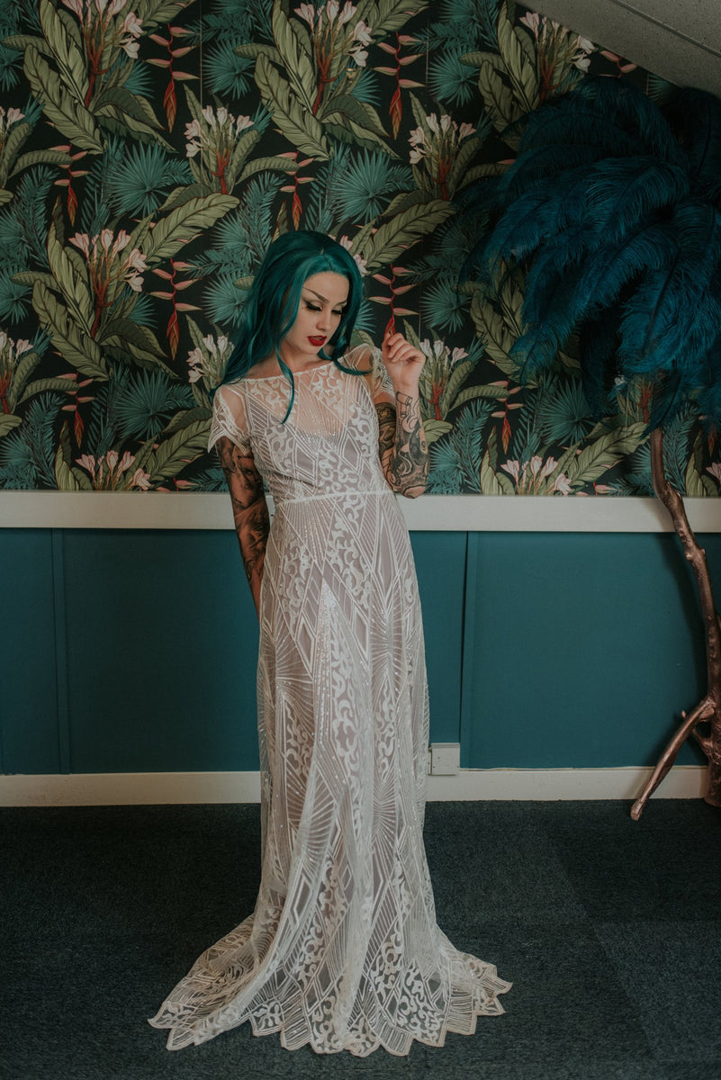 Full length bridal shot showing the delicate vintage inspired style of our Labyrinth wedding dress - Lookbook