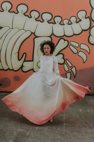 Gallery - Peach coloured dip dye vintage wedding dress