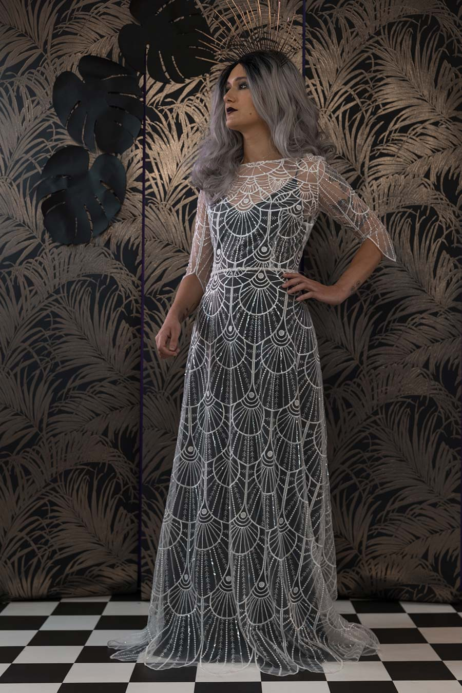 Black gothic wedding dress with intricate lace