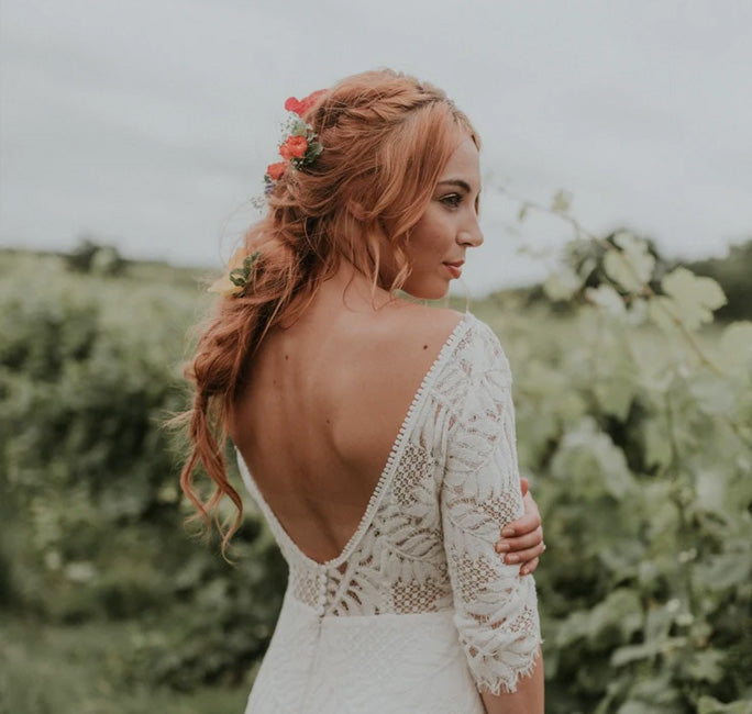 Festival styled backless wedding dress