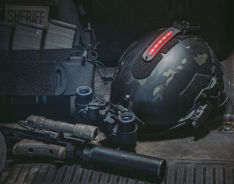 Strobe for police tactical helmet setup
