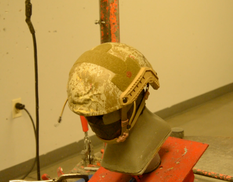 Safety helmet impact penetration testing machine
