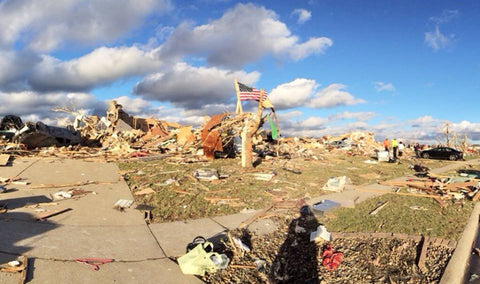 Here is what is left of a neighborhood after a tornado ripped through Washington, Illinois