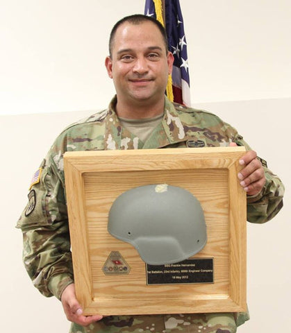Combat helmet saved soldier's life