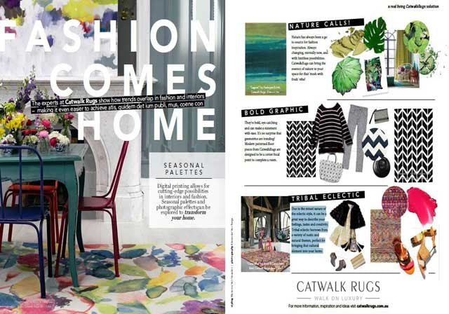 Fashion Comes Home: Fashion to Floor: As seen in Real Living Magazine - The Catwalk Rugs Journal