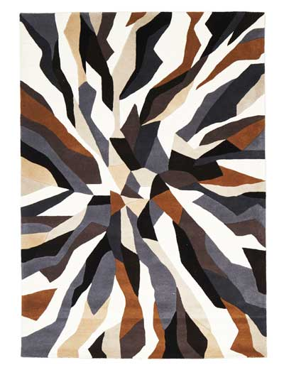 jagged pattern rug brown and black