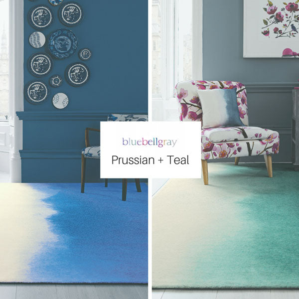 Teal faded colour into white rug