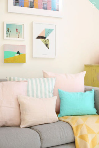 pastel pillows and cushions