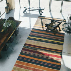 multi colour wool runner in lounge room setting