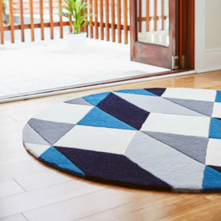 Matrix blue and white rug by rug culture