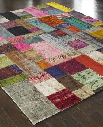 Patchwork rug on a wooden floor