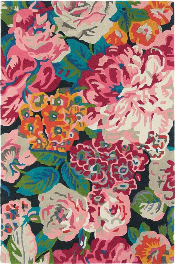 Sanderson Rose & Peony Rug No.45005 in Cerise