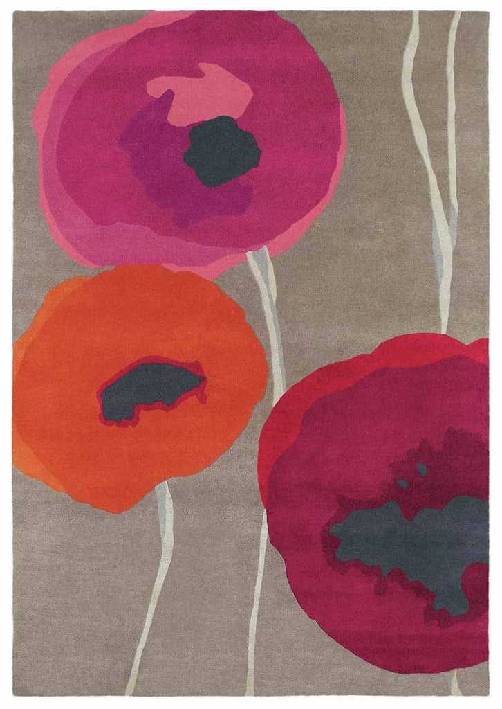 Sanderson Poppies in Red & Orange