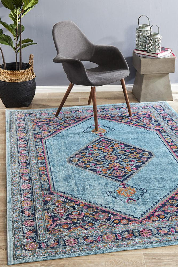 Eternal Shiraz in Pastel Blue - Available in Rug and Runner