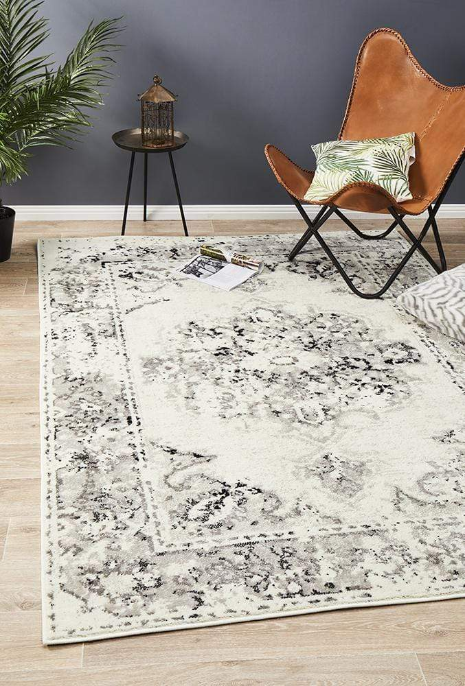 Alexa Transitional Rug White Grey Black - Cheapest Rugs Online