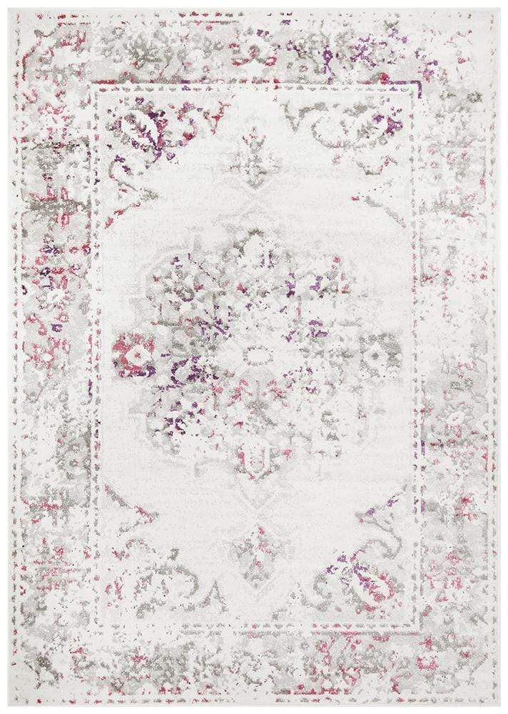 Alexa Transitional Rug White Pink Grey - Cheapest Rugs Online