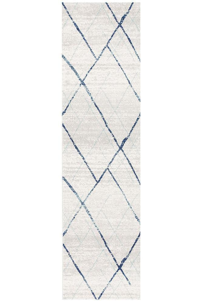 Oasis Noah White Blue Contemporary Runner Rug
