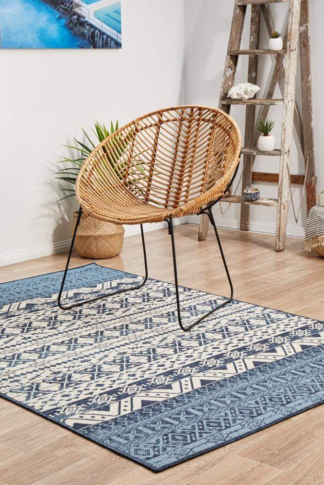 Seaside Ripples Indoor | Outdoor in Blue & White
