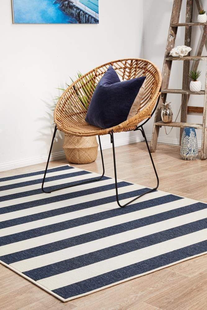Seaside Stripes Indoor | Outdoor in Navy & White