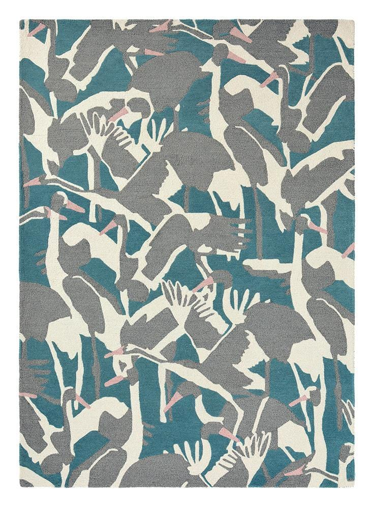 Ted Baker Cranes Rug No.57008 in Petrol